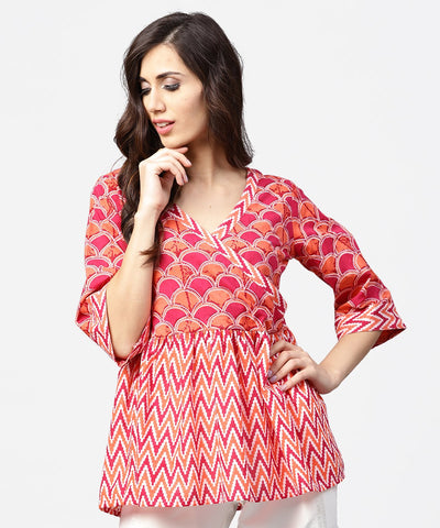 Red printed 3/4th sleeve angrakha style cotton tunic