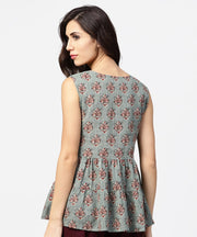 Green printed sleeveless cotton tiered style tunic