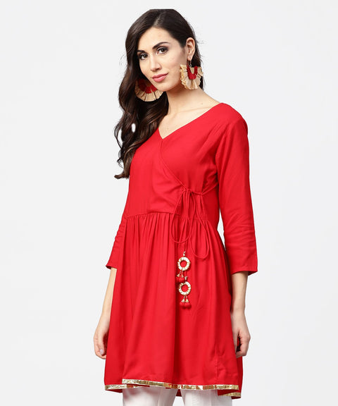 Red 3/4th sleeve angrakha style flared tunic with dori work