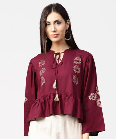 Maroon full sleeve block printed crop tops with dori work at neck