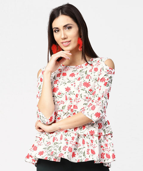 White & Red printed 3/4th cold shoulder sleeve layered tops
