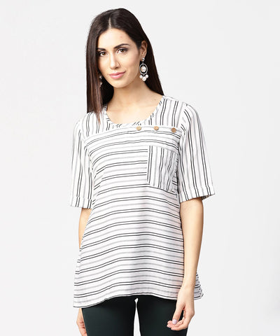 Off white striped half sleeve crepe top