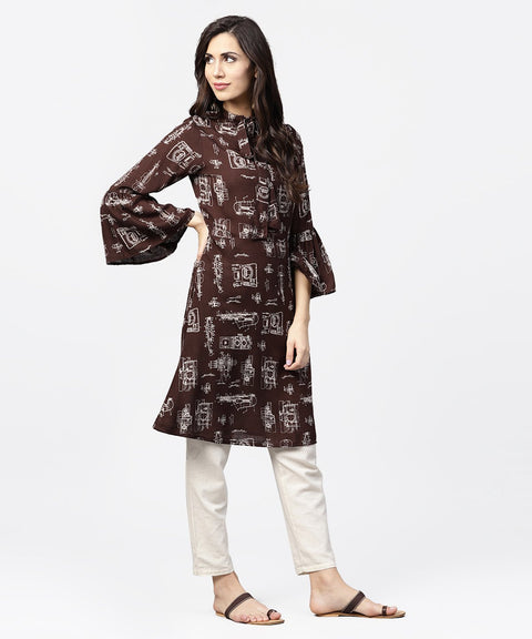 Dark coffee printed half sleeve cotton kurta