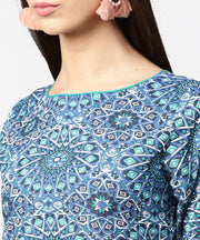 Blue printed half sleeve cotton crop tops