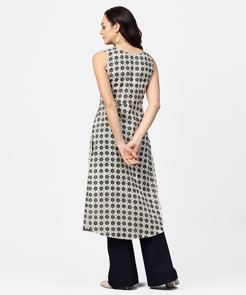 Off white printed sleeveless long kurta