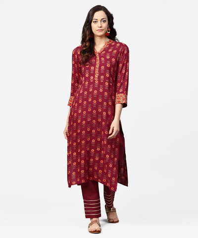 Maroon printed 3/4th sleeve cotton straight kurta