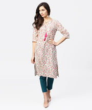 Peach printed 3/4th sleeve cotton kurta with dori work at yoke