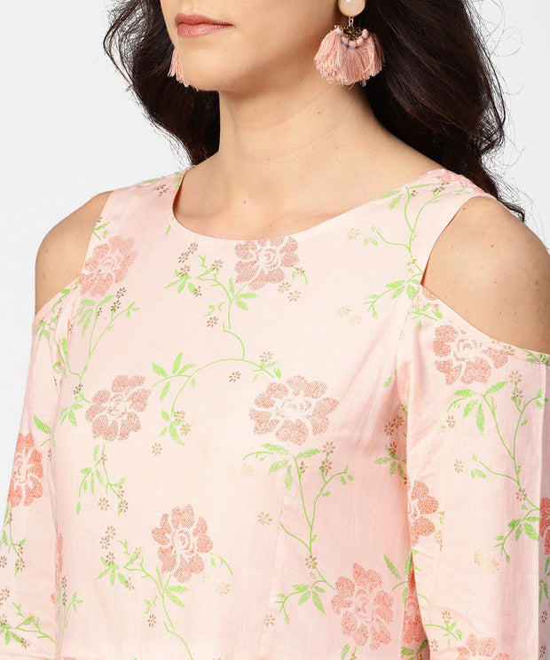 Peach printed 3/4th cold shoulder sleeve maxi dress