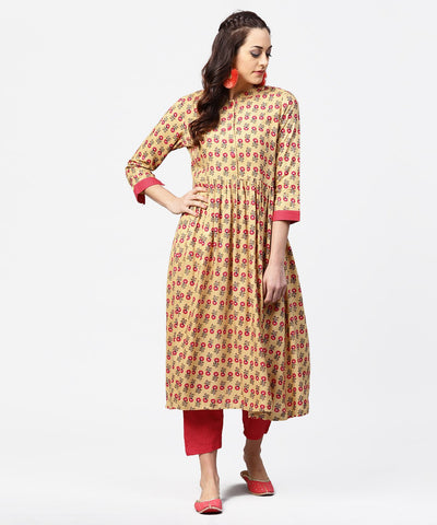 Yellow 3/4th sleeve printed cotton anarkali kurta with pink pant
