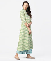 Green printed 3/4th sleeve A-line cotton kurta with blue printed pallzo