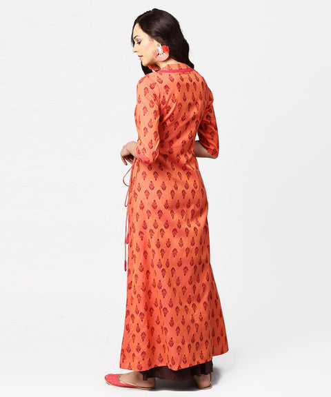 Gurea printed 3/4th sleeve cotton angrakha style kurta