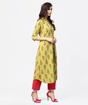 Light green printed 3/4th sleeve cotton assymetric kurta with pink pallazo