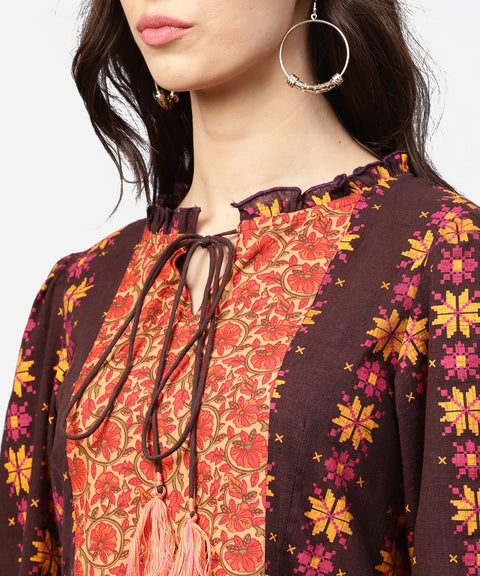Printed 3/4th sleeve cotton A-line Tunic