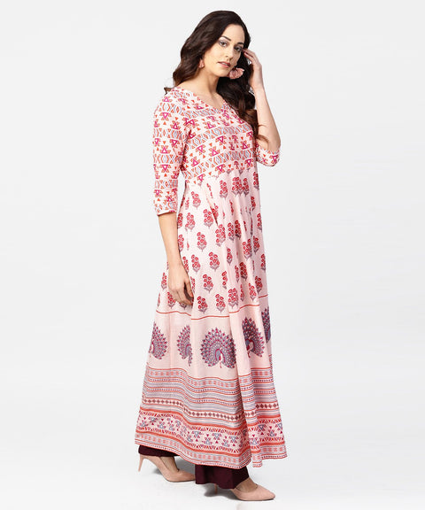 Baby pink printed 3/4th sleeve cotton floor length kurta