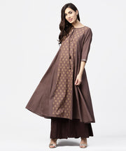 Grey printed 3/4th sleeve A-line cotton kurta with dori work at yoke