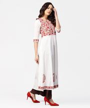White & Red block printed 3/4th sleeve cotton anarkali kurta