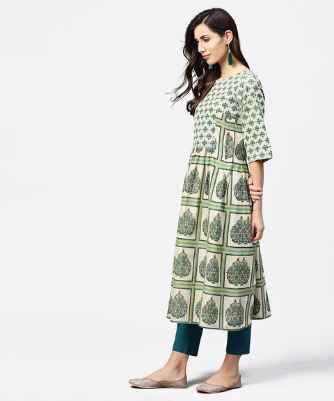 Green printed half flared sleeve A-line kurta