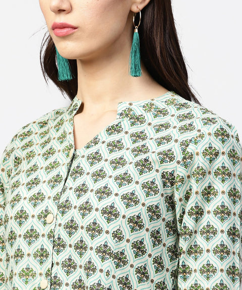 Green printed 3/4th sleeve cotton tiered anarkali kurta