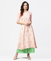 Peach 3/4th sleeve cotton printed kurta green flared pallazo