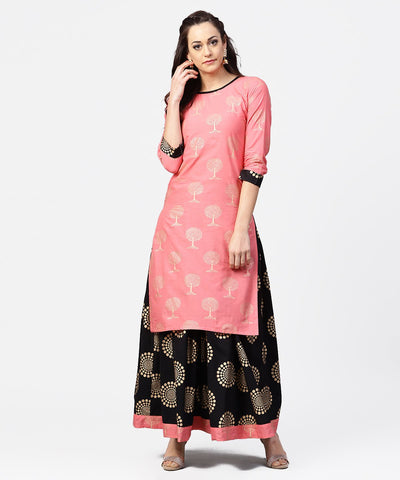 Peach 3/4th sleeve cotton printed kurta with black printed ankle length skirt