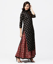 Black printed 3/4th sleeve cotton kurta with red printed flared skirt