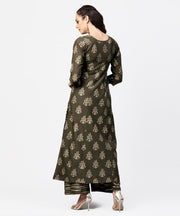 Dark grey printed 3/4th sleeve cotton printed a-line kurta with printed pallazo