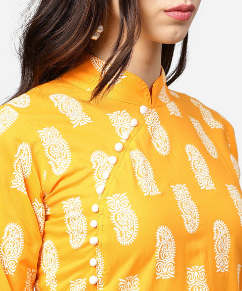 Yellow printed 3/4th sleeve cotton a-line kurta with flared ankle length skirt