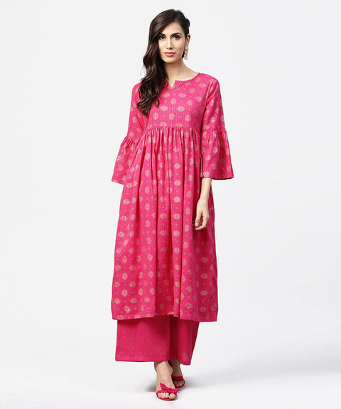 Pink 3/4th flared sleeve cotton anarkali kurta with ankle length pallazo
