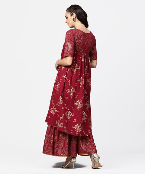 Red printed half sleeve cotton A-line kurta with sharara