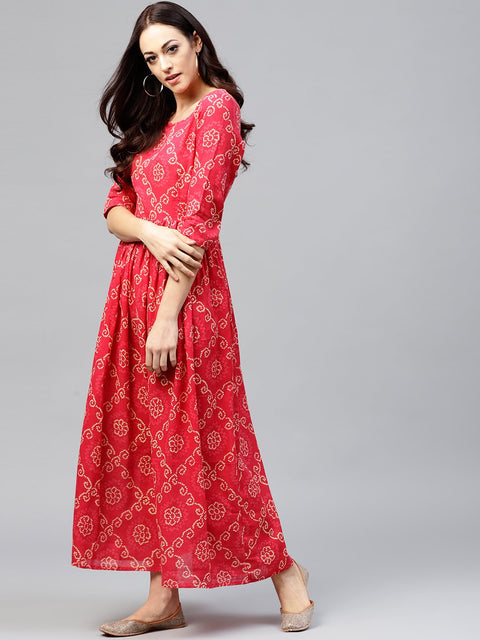 Red Printed Maxi dress with round neck and 3/4 sleeves