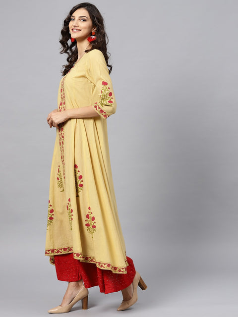 Cream Block printed 3/4th sleeve Panel cut A-line kurta