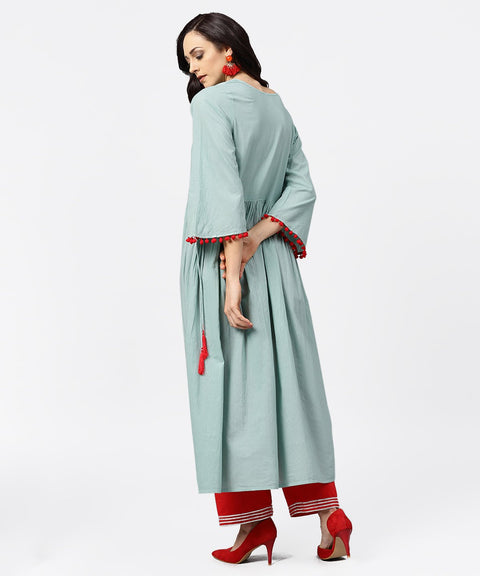 Powder blue 3/4th sleeve cotton anarkali kurta with red palazzo