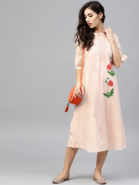Light Peach Madarin collar Dress with Front Placket and Half sleeves
