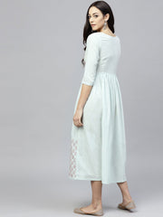 Powder Blue Block Printed Dress with Round Neck and 3/4 sleeves