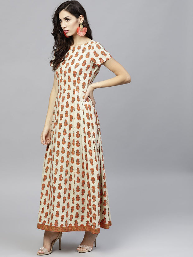 Off white Printed Maxi Dress with Round Neck and Half sleeves