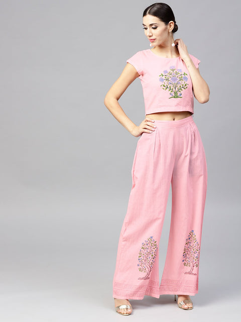 Pink cap sleeve block printed cotton Crop top with block printed palazzo