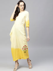 Yellow dyed Cowl Maxi dress with Round neck and 3/4 sleeves