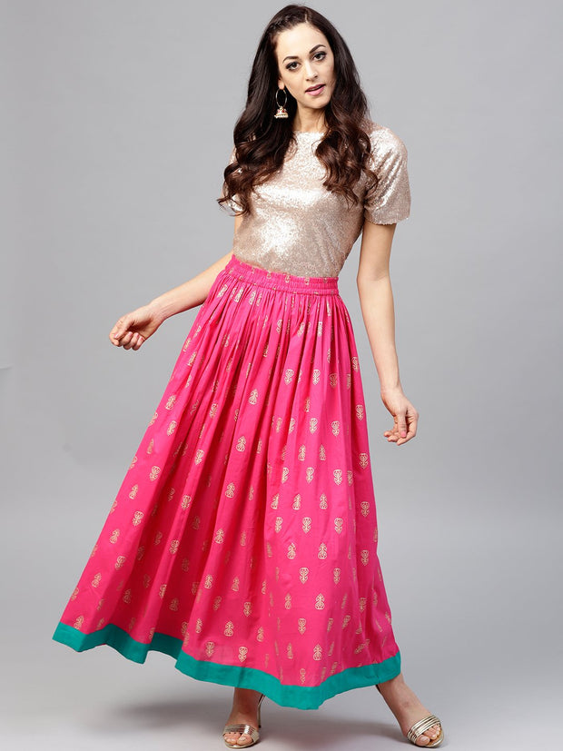 Magenta printed flared ankle length skirt