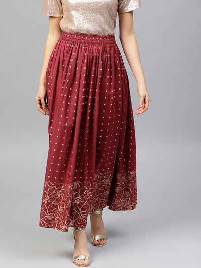 Maroon printed flared ankle length skirt