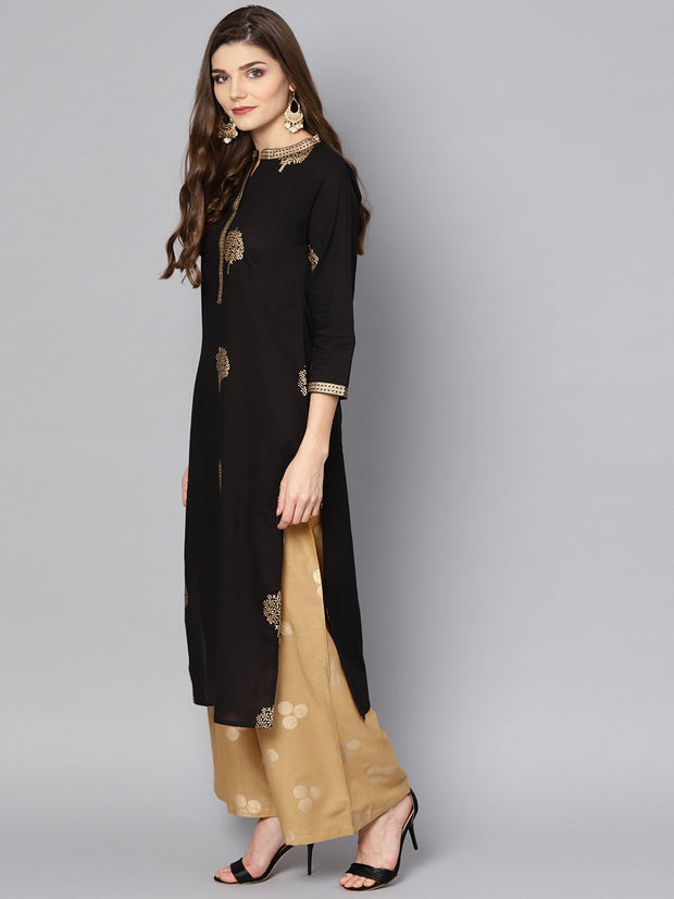 Black gold Printed 3/4th sleeve cotton Kurta set with mustard Palazzo