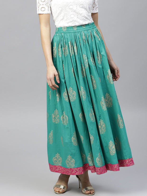 Green printed  flared ankle length skirt