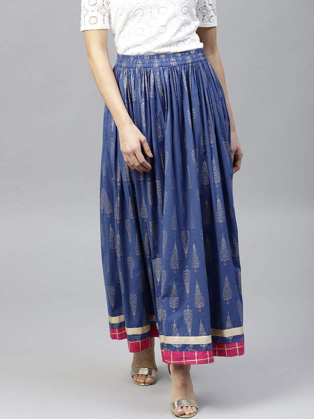 Royal Blue Printed flared Skirt