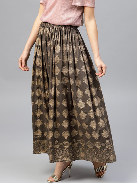 Mud brown printed flared ankle length skirt