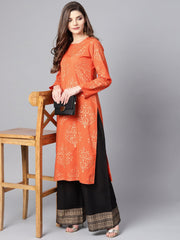 Orange printed kurta set with dark Brown Bordered Palazzo