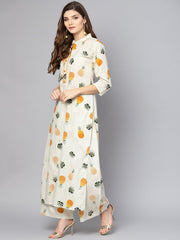 Off White 3/4th sleeve printed cotton Kurta with ankle length Palazzo