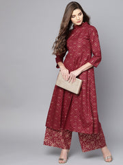 Maroon printed 3/4th sleeve a-line cotton Kurta with Printed ankle length Palazzo