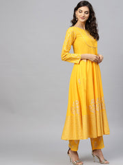 Yellow self design printed 3/4th sleeve cotton anarkali kurta with ankle length printed Palazzo