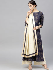Navy Blue Kurta set with Cream Palazzo And Dupatta