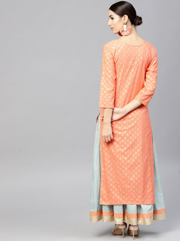 Orange printed 3/4th sleeve cotton kurta set with Printed Light Blue Palazzo