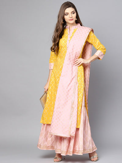 Yellow printed kurta set with Peach Printed Palazzo and Dupatta